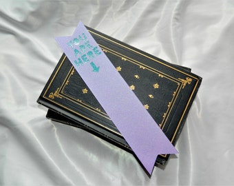 You Are Here in Teal and Purple Sparkle Bookmark
