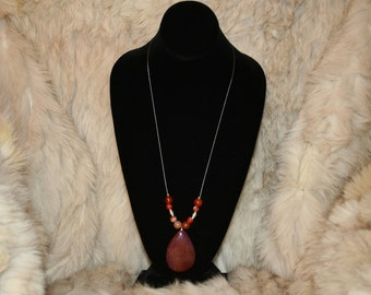 Dragon Vein Agate Cabachon accented with Dragon Vein Agate Beads. Dragon Vein Agate Earrings.