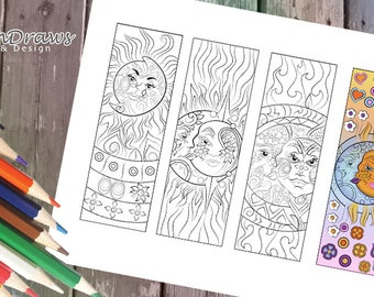 Sun and moon colouring bookmarks- Instant digital download- Relax,have fun & color