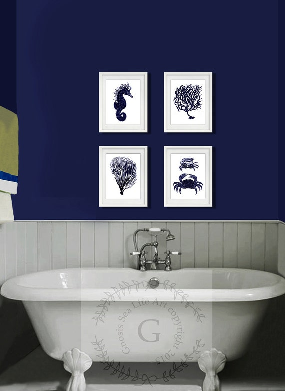 Dark Navy Blue And White Wall Art Set Of 4 Sea Coral