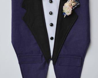Dog Wedding Tuxedo, Navy and Black Boy Dog Harness