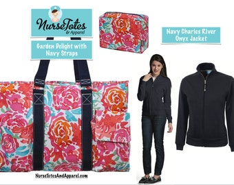 Charles River Jacket & Garden Delight Tote Set- Custom Embroidery Designs Available