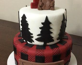 Bear and tree fondant cake top set