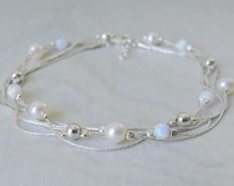 White Opal bracelet, opal bead bracelet, opal silver bracelet, opal jewelry, tiny opal bracelet, beaded bracelet, minimal bracelet
