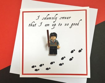 """Harry Potter Minifigure Card """"I Solemnly Swear That I Am Up To No Good"""""""