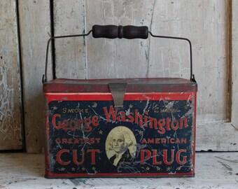 Vintage Metal Tobacco Tin, Americana George Washington Lunch Box Style