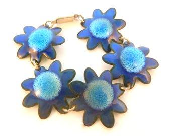 Vintage Retro Blue Enamel Flower Power 1960's Bracelet.