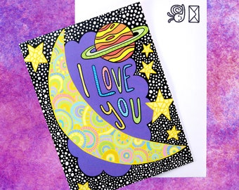 To The Moon and Back Card (Purple)
