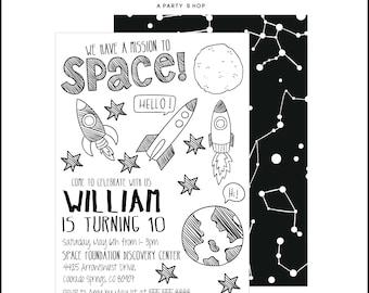 Spaceship Invitation - Space Invite - Rocket Invitation - Spaceship Party - Spaceship Birthday Party  // SPA - 01