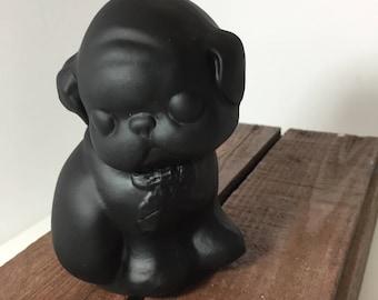 Gillinder Glass Black Pug Dogie