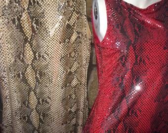 SALE-Vintage Joyce Leslie Faux Snakeskin Shimmer Dress