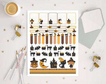 51 Printable halloween decorative stickers for use with ERIN CONDREN LIFEPLANNER™, autumn fall october stickers kit with pumpkins and bats