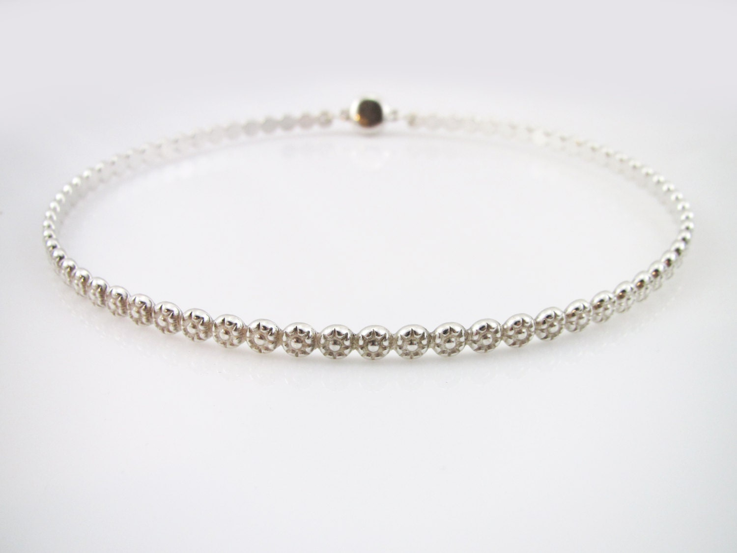 Sterling Silver Discreet Slave Day Collar Daisy Berry