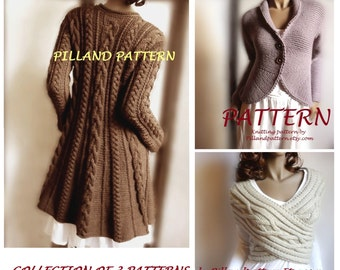 Collection of 3 Knitting Patterns Cowl Vest Womens Sweater Coat Knit Blazer Jacket Knit Cardigan in ENGLISH ONLY PDF Pattern
