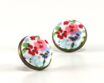 Flower Stud Earrings - Wild Flowers Earrings - Floral Studs - Red Pink Blue Green on White - Romantic Fabric Buttons Jewelry - Antique Posts