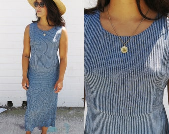 Aegean and Light Blue Thin Stripe Crinkle Crepe Sleeveless Scoop Neck Midi Ankle Length Maxi Dress with Tie Waist