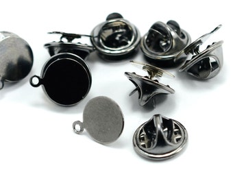 120 Pcs. Gunmetal 10 mm Round Tie Tacks 1 Loop Findings