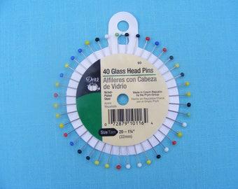 Glass Head Pins (set of 40)