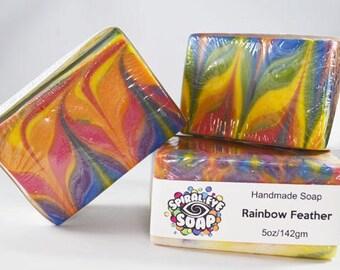 Rainbow Feather Slab - Handmade Soap