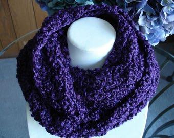 Purple Cowl Scarf, Infinity Scarf, Crocheted Scarf, Winter Scarf