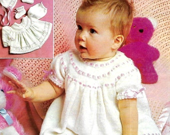 PATONS 1107 Vintage Baby Set  Knitting Pattern Instant Download