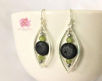 Essential Oil Diffuser Earrings, Lava Stone Earrings, Green Peridot Earrings, Essential Oil Jewelry, Leaf Shaped Earrings, Silver Earrings