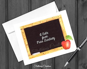 Personalized Chalkboard Note Cards. Folded Personalized Note Card. Stationery. Apple Note Card Set for Teacher.