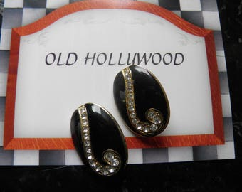 Large Black Enamel and Rhinestone Clip Earrings.  Old Hollywood Glam.
