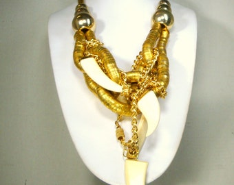 Cream White Talon Pendants w Chunky Gold Bib Chain Necklace, OOAK By Rachelle Starr, Recycled Ecochic