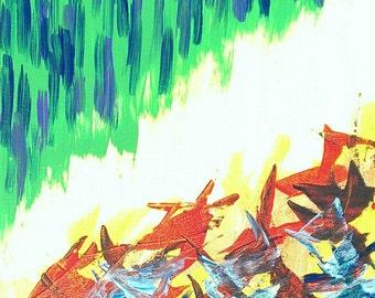 Jaune, vert, bleu, noir et rouge acrylique peinture abstraite sur toile «Série 6 XC» décoration d'intérieur, Design d'intérieur, œuvre d'art