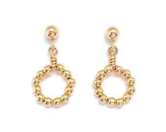 mini beaded circle earrings in gold