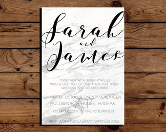 Printable Simple White Grey Marble Wedding Invitation PDF Downloadable Digital File