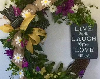 Spring Summer Floral Grapevine Wreath, Grapevine Wreath, Front Door Wreath, Grapevine,