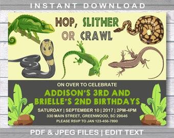 Reptile invitation etsy reptile invitation two names reptile birthday invitation instant download reptile party snake invitation boy birthday invitation filmwisefo