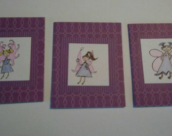 Set of three Fairy blank notecards purple