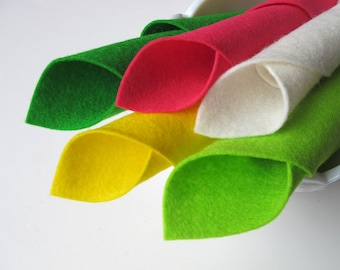 100% Wool, Felt Assortment, Lime Rickey Color Story, Chartreuse, Hot Pink, Lemon Yellow, Sprout, Ecru, Chartreuse, Neon Colors, Colorful