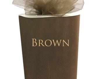 """TULLE Roll Spool 6""""x100yd, 300 Feet Tutu Wedding Gift Craft Bow Decoration Craft - Brown"""