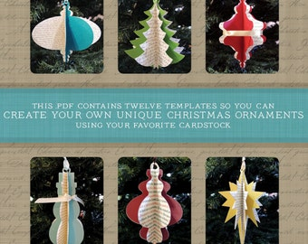 DIY Christmas Ornament Collection set of 12 Ornaments: 2013 Edition (instant download .PDF template file & instructions)