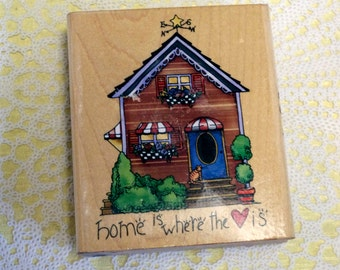 Alma Lynne  Wood Mounted Rubber Stamp Home is Where the Heart Is