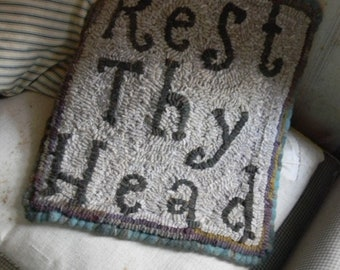 Rest Thy Head ~ PAPER {mailed} Rug Hooking Pattern from Notforgotten Farm™