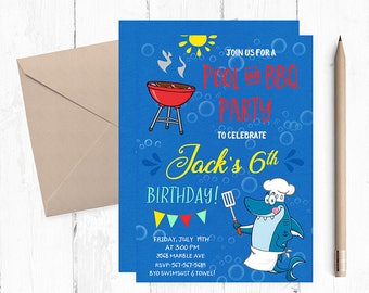 Pool and BBQ Invitations, Pool Party Invitation, Pool Party Birthday Invitation, Pool Party Invitation, Pool Party Invites, Pool  Invite,
