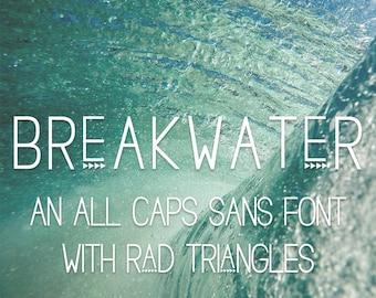 Breakwater Sans Font - Sans Serif - Triangle Font - Branding Font - Clean Font - Artsy Font - Vintage Font - Logo Font - OTF Font
