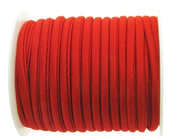 2 Meters Stitched Red Nylon Lycra Cord, Soft And Thick Cord, Stretchy Nylon Lycra String, Elastic Cord 5 mm Sold in 2 & 5 meter Length