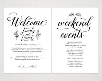 Navy Blue Wedding Welcome Bag Note Welcome Bag Letter