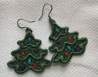 Christmas Tree Free-standing Lace Earrings