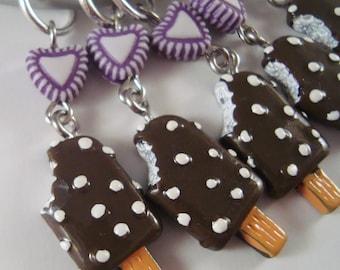 Ice Cream Knitting Stitch Markers Revelo Popcicle Chocolate Coated Sweet Treat Set of 5 /SM05E