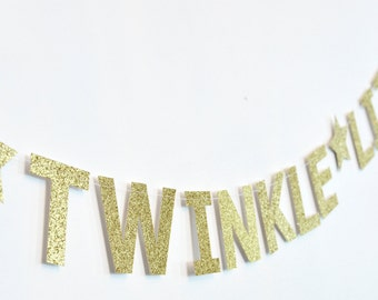 Twinkle Twinkle Little Star, Paper Banner, Gold, Birthday Party Decor, Nursery Decor, Baby Shower