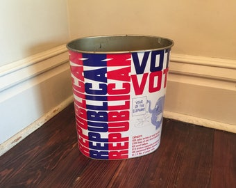 Vintage Year of the Elephant Republican Trash Can/Vintage Republican Tin Trash/Vintage Political Decor