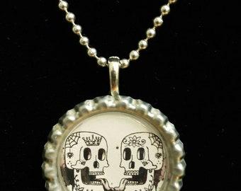 Sugar skull - dia de los muertos pendant - bottle cap necklace