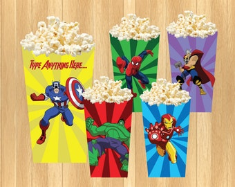 INSTANT DOWNLOAD - EDITABLE Avengers Popcorn/Treat Box